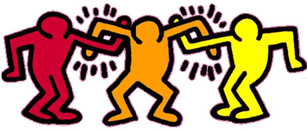 Omini di Keith Haring che si abbracciano